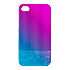 With Wireframe Terrain Modeling Fabric Wave Chevron Waves Pink Blue Apple Iphone 4/4s Premium Hardshell Case by Mariart