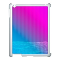 With Wireframe Terrain Modeling Fabric Wave Chevron Waves Pink Blue Apple Ipad 3/4 Case (white) by Mariart