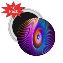Abstract Fractal Bright Hole Wave Chevron Gold Purple Blue Green 2 25  Magnets (10 Pack)  by Mariart