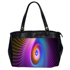Abstract Fractal Bright Hole Wave Chevron Gold Purple Blue Green Office Handbags (2 Sides)  by Mariart