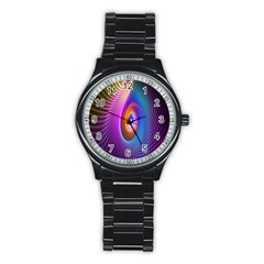 Abstract Fractal Bright Hole Wave Chevron Gold Purple Blue Green Stainless Steel Round Watch by Mariart
