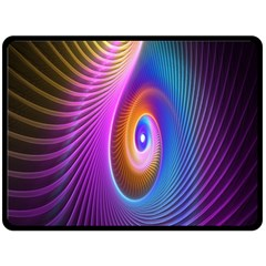 Abstract Fractal Bright Hole Wave Chevron Gold Purple Blue Green Double Sided Fleece Blanket (large)  by Mariart