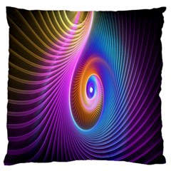 Abstract Fractal Bright Hole Wave Chevron Gold Purple Blue Green Standard Flano Cushion Case (one Side) by Mariart