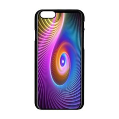 Abstract Fractal Bright Hole Wave Chevron Gold Purple Blue Green Apple Iphone 6/6s Black Enamel Case by Mariart