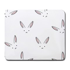 Bunny Line Rabbit Face Animals White Pink Large Mousepads by Mariart