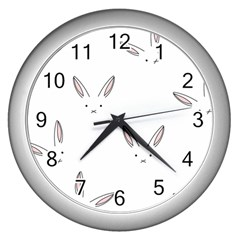 Bunny Line Rabbit Face Animals White Pink Wall Clocks (silver)  by Mariart