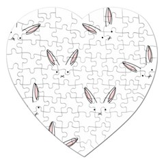 Bunny Line Rabbit Face Animals White Pink Jigsaw Puzzle (heart) by Mariart