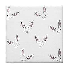 Bunny Line Rabbit Face Animals White Pink Face Towel by Mariart