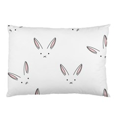 Bunny Line Rabbit Face Animals White Pink Pillow Case (two Sides) by Mariart