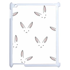 Bunny Line Rabbit Face Animals White Pink Apple Ipad 2 Case (white) by Mariart
