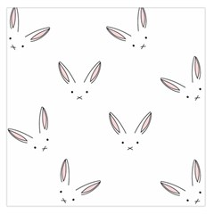 Bunny Line Rabbit Face Animals White Pink Large Satin Scarf (square) by Mariart