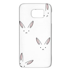 Bunny Line Rabbit Face Animals White Pink Galaxy S6 by Mariart