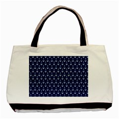 Blue White Anchor Basic Tote Bag (two Sides) by Mariart
