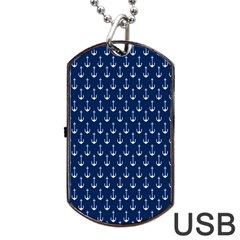 Blue White Anchor Dog Tag Usb Flash (one Side) by Mariart