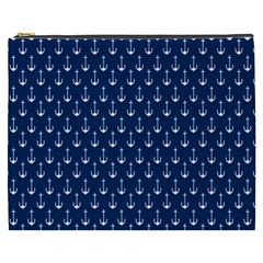 Blue White Anchor Cosmetic Bag (xxxl)  by Mariart