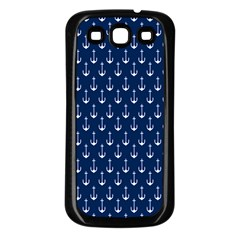 Blue White Anchor Samsung Galaxy S3 Back Case (black) by Mariart