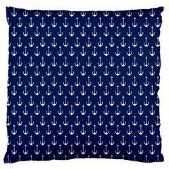 Blue White Anchor Standard Flano Cushion Case (two Sides) by Mariart