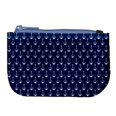 Blue White Anchor Large Coin Purse by Mariart