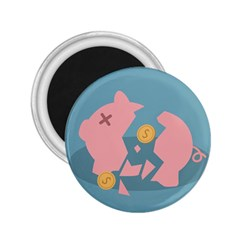 Coins Pink Coins Piggy Bank Dollars Money Tubes 2 25  Magnets by Mariart