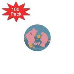 Coins Pink Coins Piggy Bank Dollars Money Tubes 1  Mini Buttons (100 Pack)  by Mariart