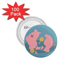 Coins Pink Coins Piggy Bank Dollars Money Tubes 1 75  Buttons (100 Pack)  by Mariart
