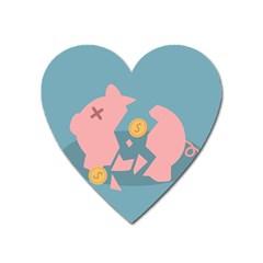 Coins Pink Coins Piggy Bank Dollars Money Tubes Heart Magnet