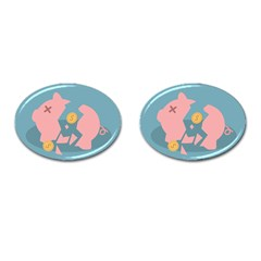 Coins Pink Coins Piggy Bank Dollars Money Tubes Cufflinks (oval) by Mariart