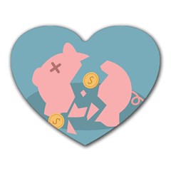 Coins Pink Coins Piggy Bank Dollars Money Tubes Heart Mousepads by Mariart