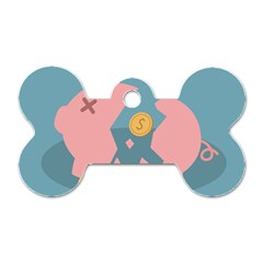 Coins Pink Coins Piggy Bank Dollars Money Tubes Dog Tag Bone (one Side) by Mariart