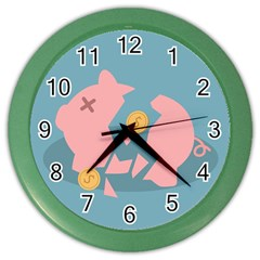 Coins Pink Coins Piggy Bank Dollars Money Tubes Color Wall Clocks by Mariart
