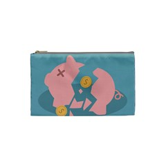 Coins Pink Coins Piggy Bank Dollars Money Tubes Cosmetic Bag (small)  by Mariart