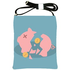 Coins Pink Coins Piggy Bank Dollars Money Tubes Shoulder Sling Bags by Mariart