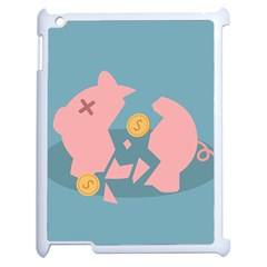 Coins Pink Coins Piggy Bank Dollars Money Tubes Apple Ipad 2 Case (white) by Mariart