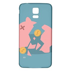 Coins Pink Coins Piggy Bank Dollars Money Tubes Samsung Galaxy S5 Back Case (white) by Mariart