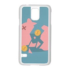 Coins Pink Coins Piggy Bank Dollars Money Tubes Samsung Galaxy S5 Case (white) by Mariart
