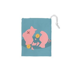 Coins Pink Coins Piggy Bank Dollars Money Tubes Drawstring Pouches (xs)  by Mariart
