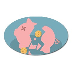 Coins Pink Coins Piggy Bank Dollars Money Tubes Oval Magnet by Mariart
