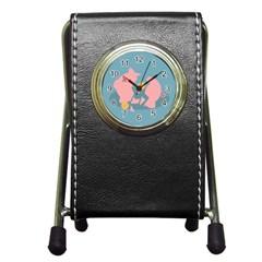 Coins Pink Coins Piggy Bank Dollars Money Tubes Pen Holder Desk Clocks by Mariart