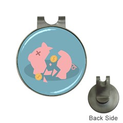 Coins Pink Coins Piggy Bank Dollars Money Tubes Hat Clips With Golf Markers by Mariart