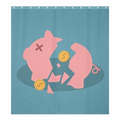 Coins Pink Coins Piggy Bank Dollars Money Tubes Shower Curtain 66  X 72  (large)  by Mariart