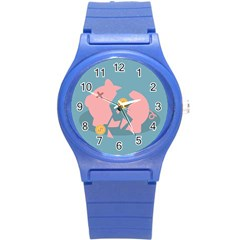 Coins Pink Coins Piggy Bank Dollars Money Tubes Round Plastic Sport Watch (s) by Mariart