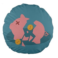 Coins Pink Coins Piggy Bank Dollars Money Tubes Large 18  Premium Round Cushions by Mariart