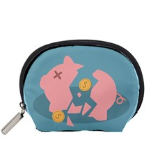 Coins Pink Coins Piggy Bank Dollars Money Tubes Accessory Pouches (small)  by Mariart