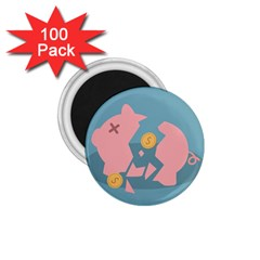Coins Pink Coins Piggy Bank Dollars Money Tubes 1 75  Magnets (100 Pack)  by Mariart