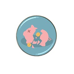 Coins Pink Coins Piggy Bank Dollars Money Tubes Hat Clip Ball Marker (4 Pack) by Mariart