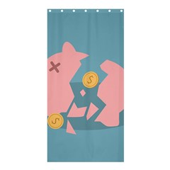 Coins Pink Coins Piggy Bank Dollars Money Tubes Shower Curtain 36  X 72  (stall)  by Mariart
