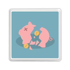 Coins Pink Coins Piggy Bank Dollars Money Tubes Memory Card Reader (square)  by Mariart