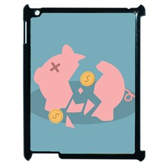 Coins Pink Coins Piggy Bank Dollars Money Tubes Apple Ipad 2 Case (black) by Mariart