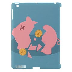 Coins Pink Coins Piggy Bank Dollars Money Tubes Apple Ipad 3/4 Hardshell Case (compatible With Smart Cover) by Mariart