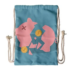 Coins Pink Coins Piggy Bank Dollars Money Tubes Drawstring Bag (large) by Mariart